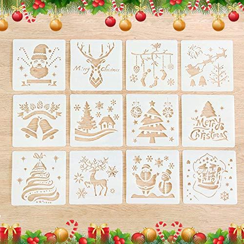 12 Stück Weihnachten Schablonen, Zeichenschablonen Malschablonen aus Kunststoff,Stencil Schablonen Wiederverwendbar für Scrapbooking Fotoalbum,DIY Geschenkkarten,Geschenke Weihnachten Kinder