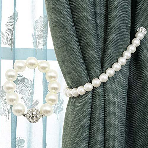 Espaldares de Lazo de Cortina 1 par hecho para hombre perla cortina Tie Backs estilo moderno decoración Drapery Hold Backs cuerda titular Abrazaderas para Cortinas ( Color : White , Size : 40cm )