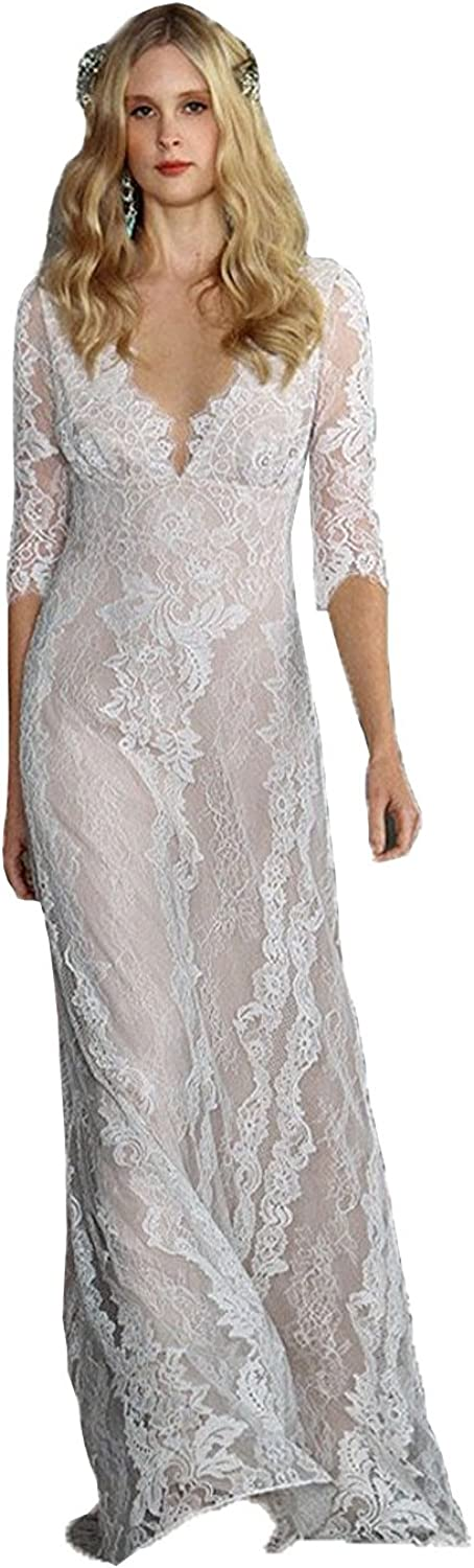 Kelaixiang Double VNeck 3 4 Sleeves Lace Wedding Dress Bridal Gowns for Women