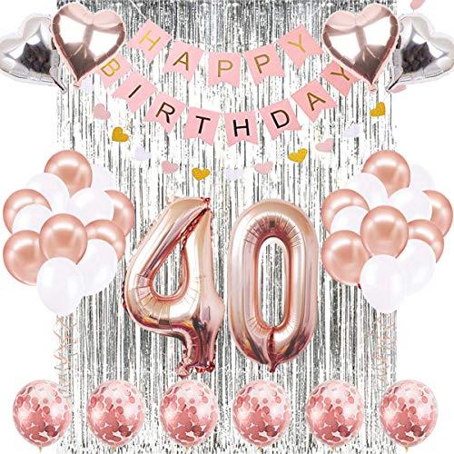 SUNPAT Decoraciones de Cumpleaños Número 40 Banner Globo Decoraciones de Cumpleaños Número 40 Artículos de Fiesta Regalos Para Mujeres Globos Número 40 de Oro Rosa, Globos de Confeti de Oro Rosa