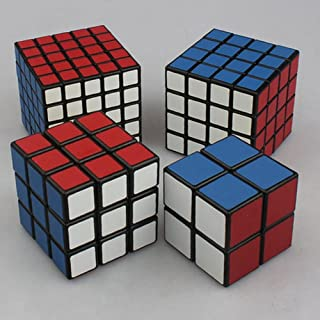 Cyndie 4 Pcs Brain Teaser Magic Cubes Pocket Cube Rubik's Cube Rubik's Revenge and Professor's Cube Set Black