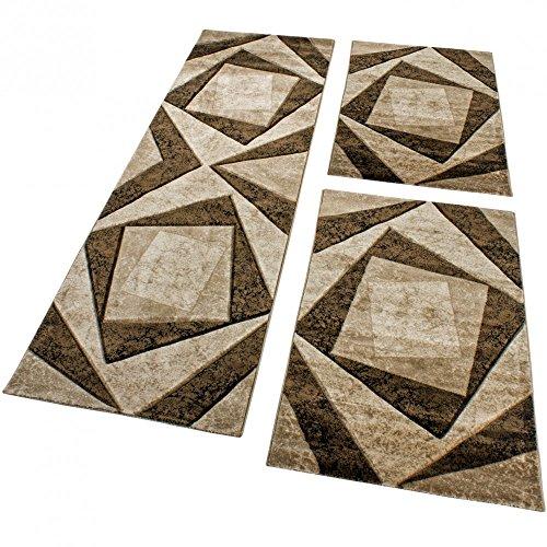 Läuferset Designer Teppiche Bettumrandung Kariert in Braun Schwarz Creme Meliert, Grösse:2mal 80x150 1mal 80x300