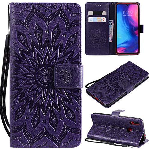 KKEIKO Hülle für Xiaomi Redmi Note 7, PU Leder Brieftasche Schutzhülle Klapphülle, Sun Blumen Design Stoßfest Handyhülle für Xiaomi Redmi Note 7 - Violett