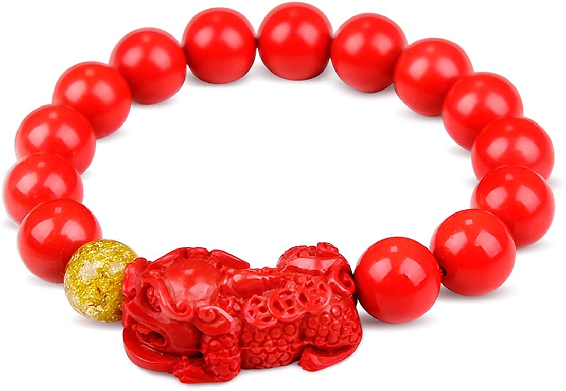 YWSTONE Feng Shui Bracelet Lucky Red Bead Bracelet with Charming