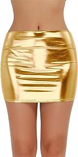 iEFiEL Gonna Corta da Donna Lingerie Sexy Minigonna Aderente in Pelle per Discoteca Nightclub Clubwear Wetlook Metallico L...