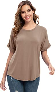 POPZONE Summer T Shirts Rolled Short Sleeve Blouses Round Neck Loose Casual Basic Tee Tops Tunic for Women