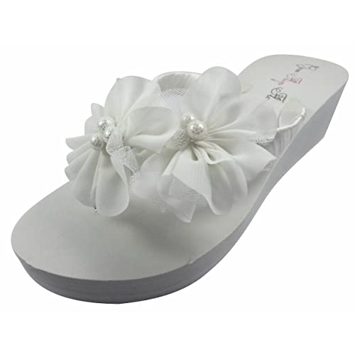 cd5ae0edb53682 Ivory Wedge Flip Flops Wedding Bridal White Wedge Bride Platform Heel  Flower Satin Shoes Sandals Beach