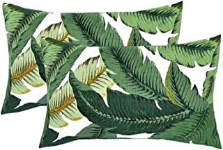 RSH DECOR Set of 2 Indoor/Outdoor Decorative Lumbar/Rectangle Pillows - Made with Tommy Bahama Swaying Palms - Aloe - Green Tropical Palm Leaf