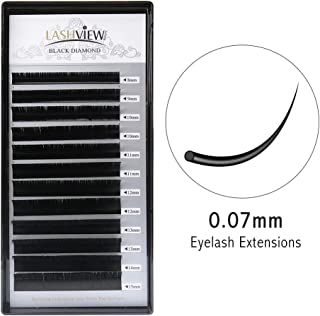 LASHVIEW 0.07 Thickness C Curl Mixed Tray Volume Faux Mink Eyelash Extensions Silk Individual Lash Extensions Pure Korean Silk lashes Soft Application for Professional Salon Use