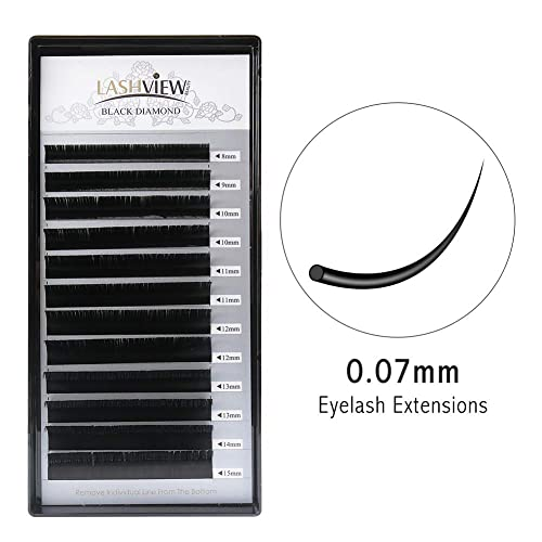 1c5afbb3b31 LASHVIEW 0.07 Thickness C Curl Mixed Tray Volume Faux Mink Eyelash  Extensions Silk Individual Lash Extensions