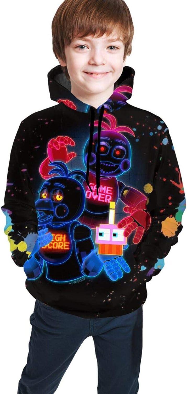 Five Nights at Freddy Youth Boys Girls 3D Print Pullover Hoodies Hooded Seatshirts Sweaters 7-8 Years Black