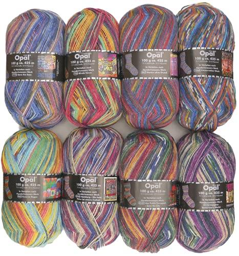 8x100g Opal Sockenwolle Paket Hundertwasser #3, Sockenwolle mit buntem Farbverlauf zum Stricken oder Häkeln