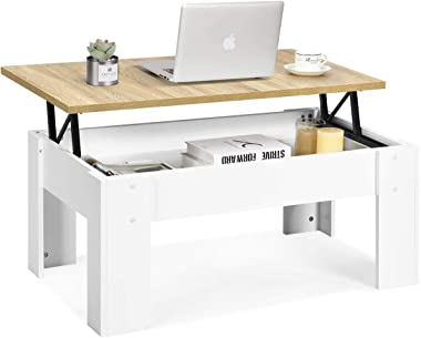 Tangkula Lift Top Coffee Table, w/Hidden Storage Compartment, Cocktail Table, w/Lift Tabletop for Living Room Reception Room (White)