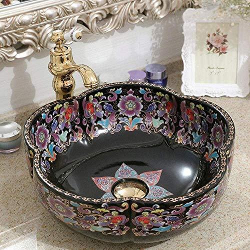 ZLXLX wastafel wastafel wastafel bloem vorm porselein badkamer wastafel kom aanrecht ronde keramische badkamer wastafel wastafel wastafel wastafel wastafel