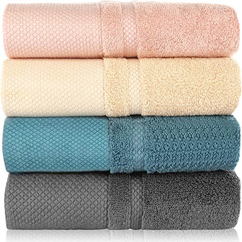 Mecdino Juego de 4 toallas de mano, 100% algodón, suaves y absorbentes, 34 cm x 74 cm, cuatro colores (azul, rosa, amarillo, gris)