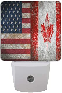 Yongxiafdknight 2 Pack Goodnight USA Canada Friendship Combiantion Flag Theme LED Night Light Dusk to Dawn Sensor Plug in Designs Indoor Home Decor for Adult Kids Baby Children