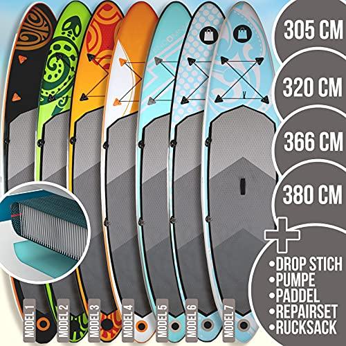 SUP Board Set - aufblasbar, Pumpe, Tragetasche, 15cm dick, max. Belastung 130 kg, 3 PVC Schichten, 7 Farben, 4 Größen 305cm 320cm 366cm 380cm - Stand Up Paddle Paddling board, Paddelboard, Surfboard