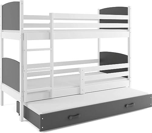 Etagebett TAMI 3 (für drei Kinder), Farbe  Weiß 190x80cm, mit Lattenroste und Matratzen (GRAU)