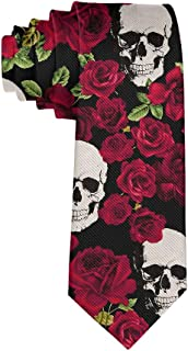 Men's Polyester Slim Neckties, formal Party Meeting Conference Suit Neckties - Rose Skull