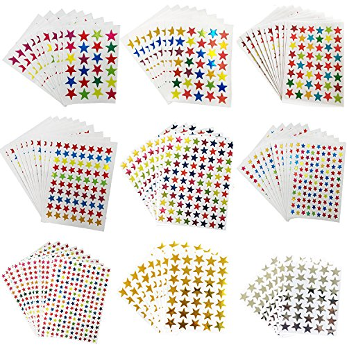 Kenkio 8270 Count Colorful Star Stickers Self-Adhesive Stickers Stars Labels