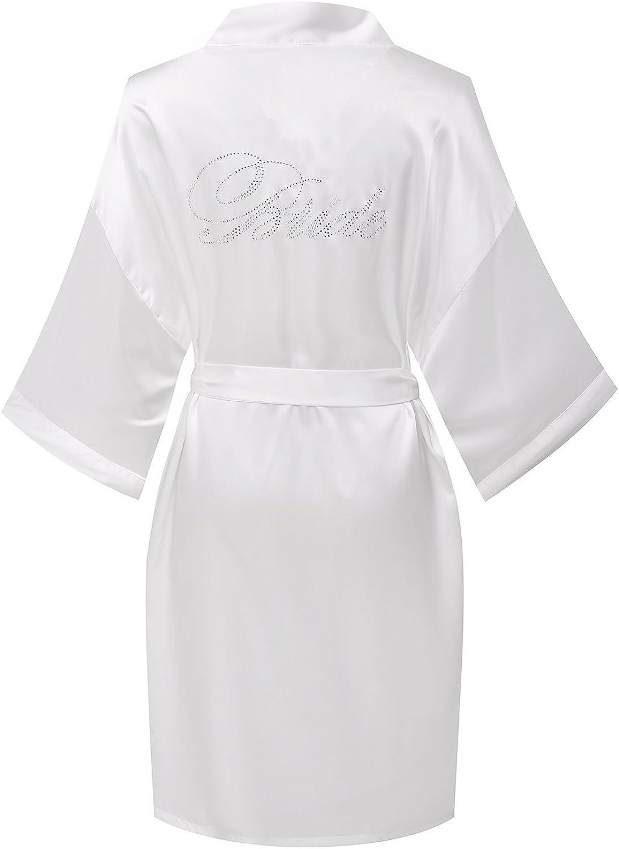 TIMSOPHIA Women Robes Pure Colour Short Kimono Robes Silk Satin Robes for Bride and Bridesmaid Wedding Party Gift