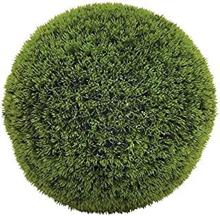 """Deco 79 50852 Large, Round Bright Green Grass Ball Decorative Foliage, Indoor Topiary Ball, Artificial Decorative Holiday Plants, Spring & Summer Faux Plant Decor   15"""" x 15"""""""