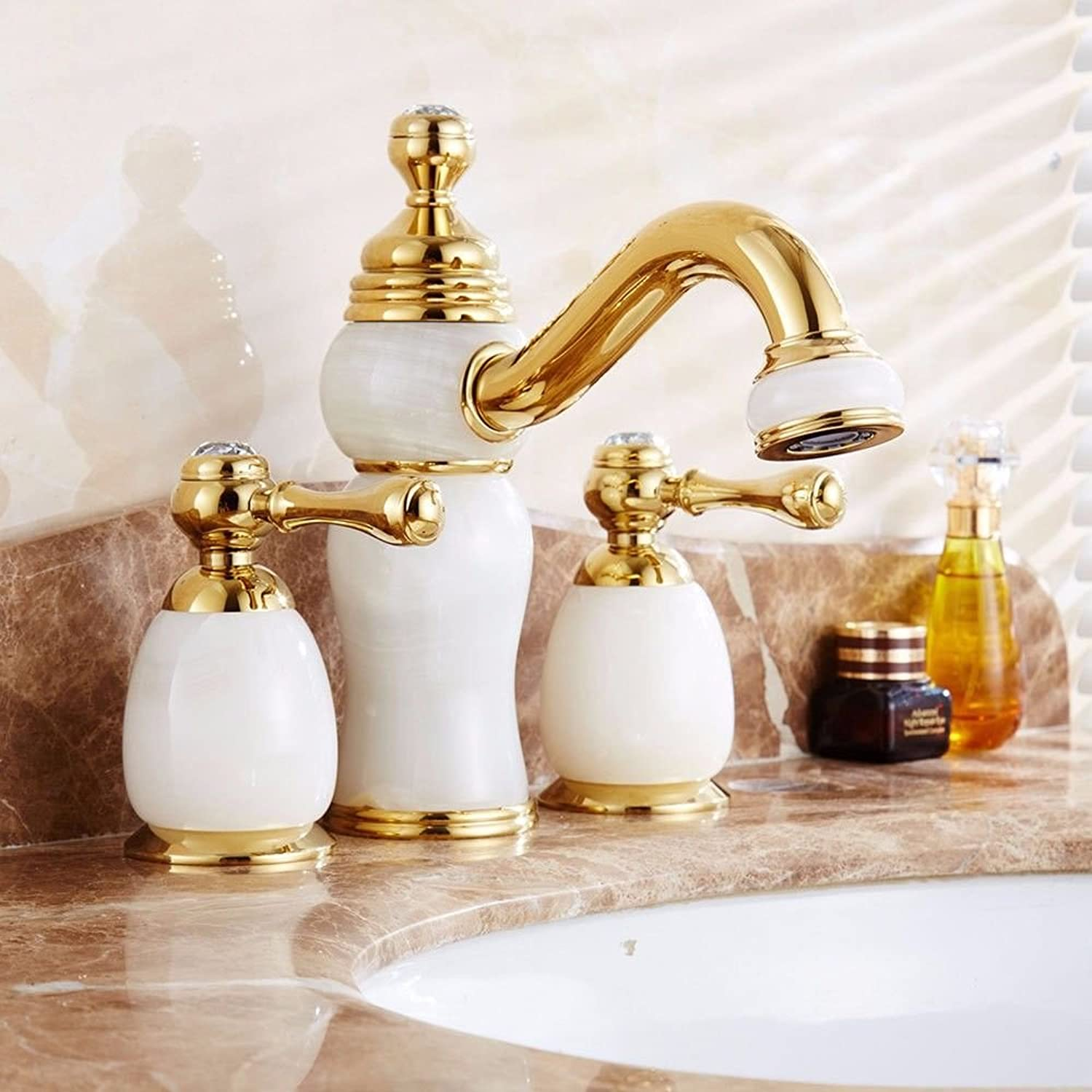 AQMMi Basin Taps Bathroom Sink Faucet Retro Jade Hot and Cold Water Ceramic Valve 3 Holes 2 Lever Bathroom Sink Faucet Basin Mixer Tap