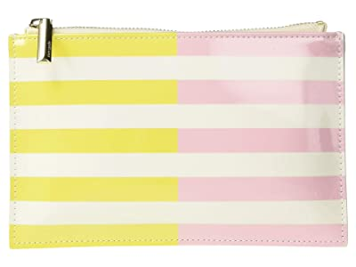 Kate Spade New York Two-Tone Stripes Pencil Pouch (Bright Yellow) Wallet