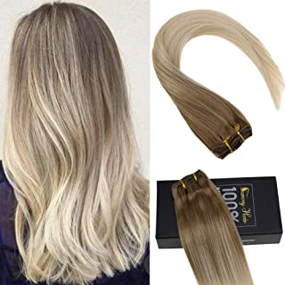 Sunny Clip in Blonde Hair Extensions Human Hair Balayage 18 inch Blonde Balayage Clip in Extensions Golden Blonde Mix Platinum Blonde Balayage Clip 120 gram 7pcs