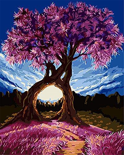 CaptainCrafts New Malen nach Zahlen 16x20 für Erwachsene, Kinder Leinwand - Millennium Liebe, Lila exotische Bäume Blauer Himmel (Frameless)