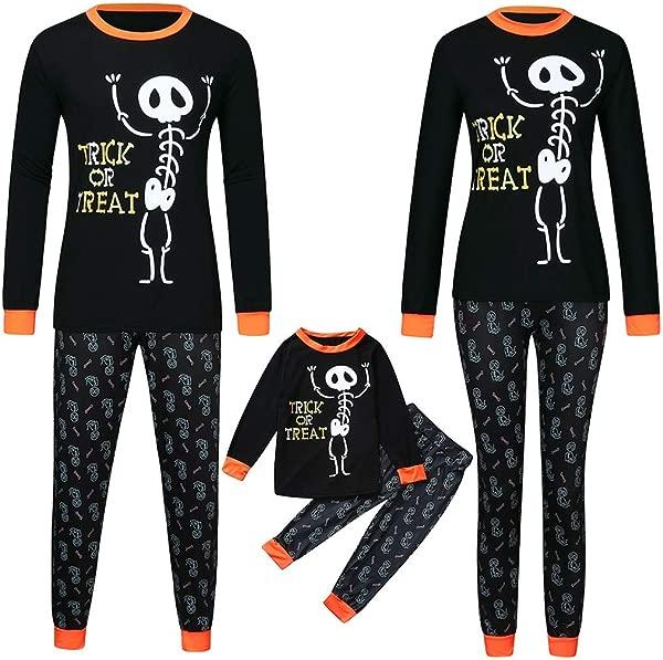 Beppter Halloween Family Pajama Set Costumes Holiday Macthing Sleepwear Skull Skeleton Trick Or Treat PJ Sets