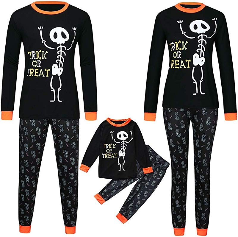 Huarll Family Pajamas Matching Set Skeleton Print Tops Pants Set Baby Halloween Pajamas For Boys Girls Outfits Clothes