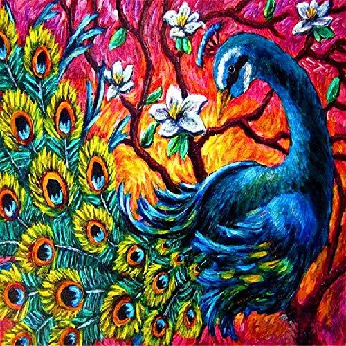 Pintura por números Awenna Pintura por números para adultos y niños con pinceles DIY Óleo Lienzo Número Pintura Pavo real creativo 40x50cm Sin marco