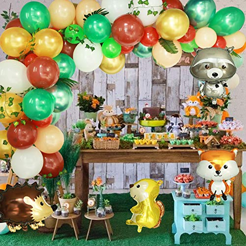 Woodland Party Balloon Garland Arch Kit Jungle Forest Animals Creatures Theme Party Latex Balloons for Birthday Party Baby Shower Supplies
