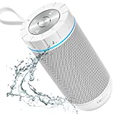 COMISO Waterproof Bluetooth Speakers Outdoor Wireless Portable Speaker with 20 Hours Playtime Superior Sound for Camping, Beach, Sports, Pool Party, Shower (White)