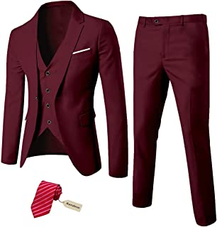 MY'S Men's 3 Piece Slim Fit Suit Set, One Button Solid Jacket Vest Pants with Tie