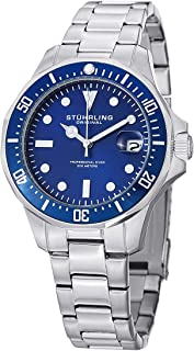 Stuhrling Original Aquadiver Mens Dive Watch - Quartz Analog Waterproof Sports Watch - Blue Dial Date Display Swim Wrist Watch for Men - Luminous Waterproof Watch with Stainless Steel Bracelet 664.02