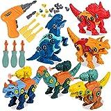 GOLDGE 6pcs Dinosaurios Juguetes para Niños con Taladro Eléctrico, Juego Construccion Dinosaurios, Construccion Juguete Dducativos