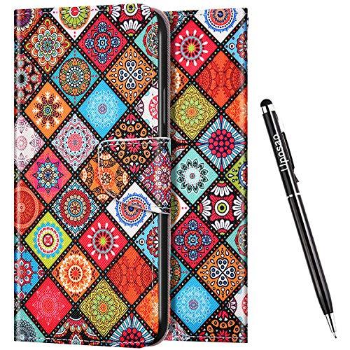 Uposao Kompatibel mit Huawei Honor 8X Hülle Flip Schutzhülle Leder Handyhülle 3D Bunt Muster Leder Hülle Leder Tasche Bookstyle Case Klapphülle Magnet Kartenfächer,Mandala