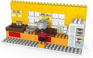 جي كاي مجموعة العاب مكعبات بناء المطبخ، 95 قطعة تعليمية كبيرة الحجم داخل صندوق للتخزين، العاب بنات من 2 - 3 سنوات