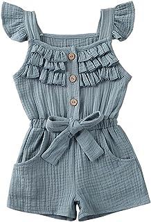 طفلة الصلبة رومبير الوليد بذلة sunsuit طفل الصيف القطن الكتان playsuit الملابس 1-5years (Color : Blue, Kid Size : 3T)
