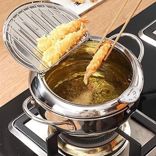 Friteuse Tempura,Friteuse Tempura de Style Japonais Graisse filtrante Ustensiles de Cuisine,Argent,24cm