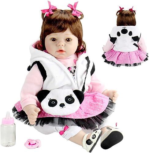 Realistische wiedergeborene Puppe 22 Zoll lebensechte handgemachte Weiße   Spielzeug wiedergeborenes Baby mädchen mit Panda legt Geschenk-5cm