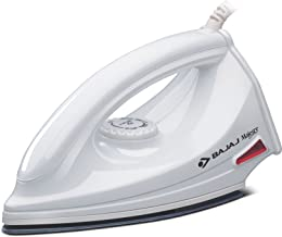 Bajaj DX-6 1000W Dry Iron with Advance Soleplate and Anti-bacterial German Coating Technology, White