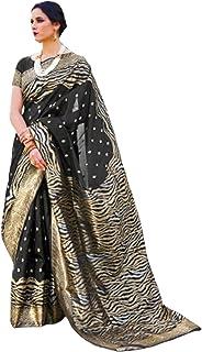 بلوزة ساري هندي ناعمة من الحرير الكريستال الجميل Zari Motif Pallu Sari نسائية للمناسبات والحفلات 6063 2