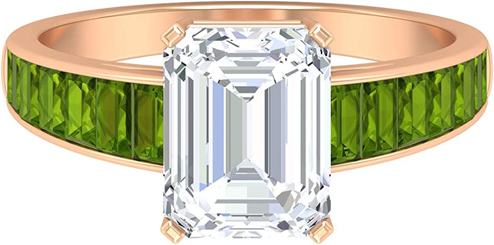 D-VSSI Moissanite and Peridot Ring Super special price MM Shape 7X9 Moissan Octagon Manufacturer regenerated product