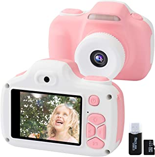 Kids Camera for Girls Gifts, 12MP Digital Selfie 1080P HD Video Camcorder for Children 3-12 Years Old Shockproof Mini Soft Silicone Learning Toy Cameras with Flash (16GB Memory Card Included) (Pink)