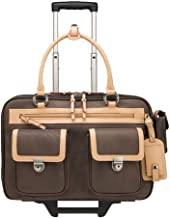 "Franklin C ovey Business Tote 15.4"" Morgan Rolling Laptop Briefcase, 33039, Brown/Tan"