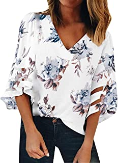 Willow S Womens Loose Bat Sleeve Floral Print Deep V Neck Lace Patchwork Blouse Casual Loose Shirt Tops …