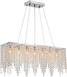 "7PM Modern Linear Rectangular Island Dining Room Crystal Chandelier Lighting Fixture (Medium L32"")"